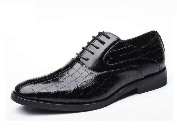 Luxury Crocodile Pattern Men Leather Shoes Lace-up Designer Business Casual Leather Shoes Men Formal Wedding Party Shoes da06