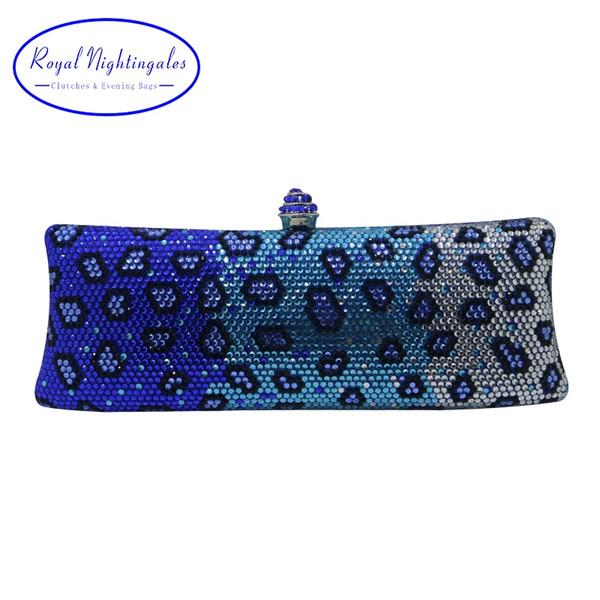 Royal Nightingales Luxe Bleu Soirée Soirée Sacs Et Pochettes Avec Cristal Strass Pour Les Femmes Parti De Mariage De Robe De Bal # 744115