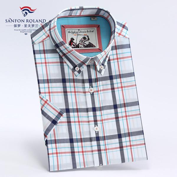 Camicie di cotone casual da uomo Magliette allentate Abito manica corta Camicia bianca Primavera autunno Estate Camicia casual a quadri moda uomo SFLD1920