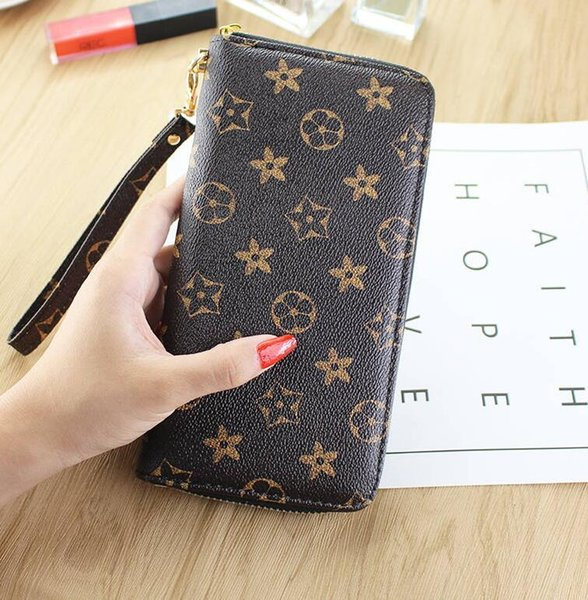 Long wallet ladies clutch bag 2019 spring and summer new fashion old flower small wallet large capacity zipper female hand A3