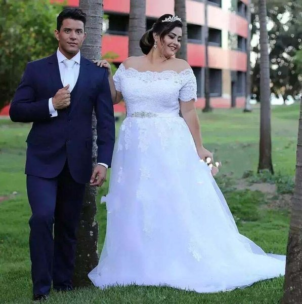 Beach Plus Size Wedding Dresses With Belt Beads Off The Shoulder Lace Appliques Short Sleeves Wedding Gowns Cheap Country Bridal Dress