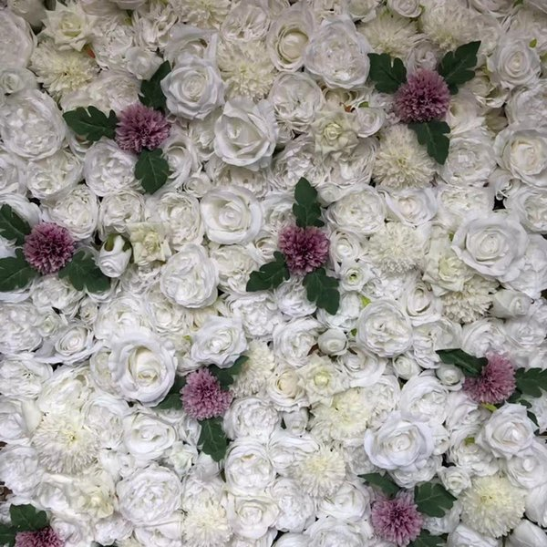 3D Artificial Flower Wall And DIY Flower Runner Wedding Decorations Backdrop Pink And White Rose Hydrangea And leaves