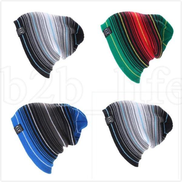 Зимняя вязаная шапка Мужчина Skullies шапочка Зимние шапки для мужчин Женщина Полосатого громоздкой Knit Beanie Hat Winter LJJK1877