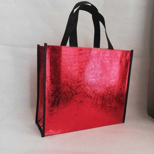 2019 новый стиль 500 шт./лот Красный отступ нетканый сумка металлический лазер пользовательские логотип сумки рекламные выставочные сумки 3 цвета