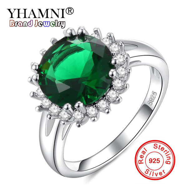 wholesale Solid 925 Silver Green Gem Rings Pop Fashion Vintage Rings Wedding Jewelry Birthday Party Gifts For Women RA0140