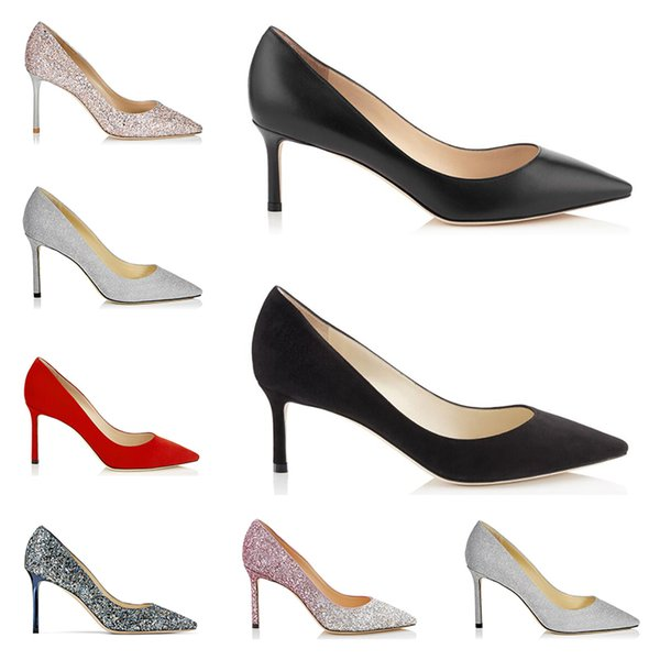 Jimmy Choo 2019 designer de moda de luxo mulheres senhora sapatos de salto alto romy glitter strass preto vermelho 8 cm 10 cm 12 cm vestido de festa de casamento sapato
