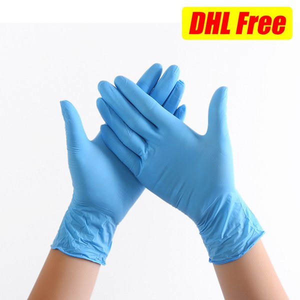 top popular Disposable Gloves Blue White Green Nitrile Latex Universal Cleaning Protection Hand Kitchen Washing DHL Free Shipping 2021