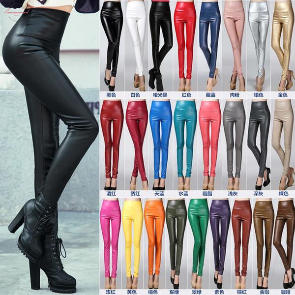 Winter Autumn Women Colorful Elastic Pu Leather Velvet High Waist Thick Fashion Warm Leggings Trousers Pencil Pants Slim Female