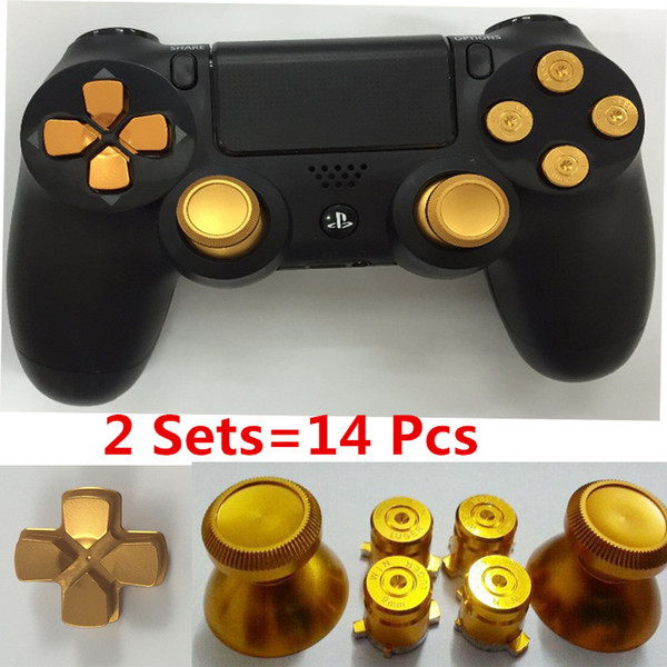 2sets Golden Metal Analog thumb sticks+Arrow D-pad+9mm Bullet Buttons Mod Kit For Playstation PS4 Dualshock 4 Controller Gamepad