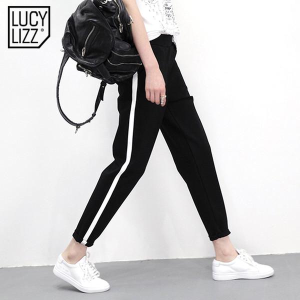 Lucylizz 2017 pantalones de yoga Las mujeres rayas Deporte Leggings Leggins Gimnasio Gym Ropa de deporte Mallas para correr Delgado Pantalones Plus