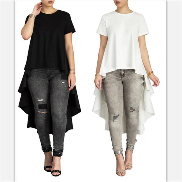 Frauen Tops Süße Blusen Shirts Rüschen Am Rücken Rundhals Schwarz Weiß Farbe Lässig Asymmetrisches Hemd Für Damen Y19062501
