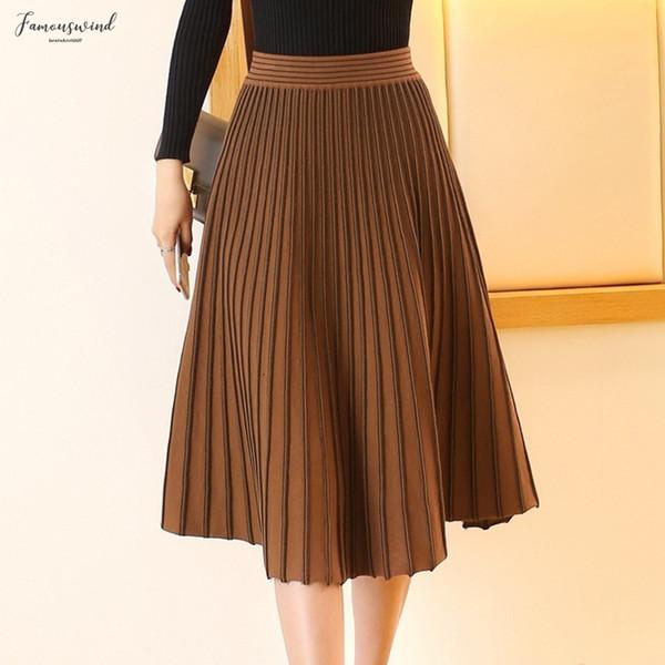 Womens Knitted Midi Pleated Skirt High Waist Euro American Fashionable Elegant Autumn Winter New Skirt High Quality