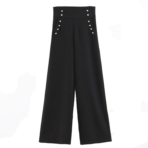 Taille haute pantalon de jambe large Dame de bureau noir loisirs pantalons femmes pantalons lâches 2019 vêtements de mode