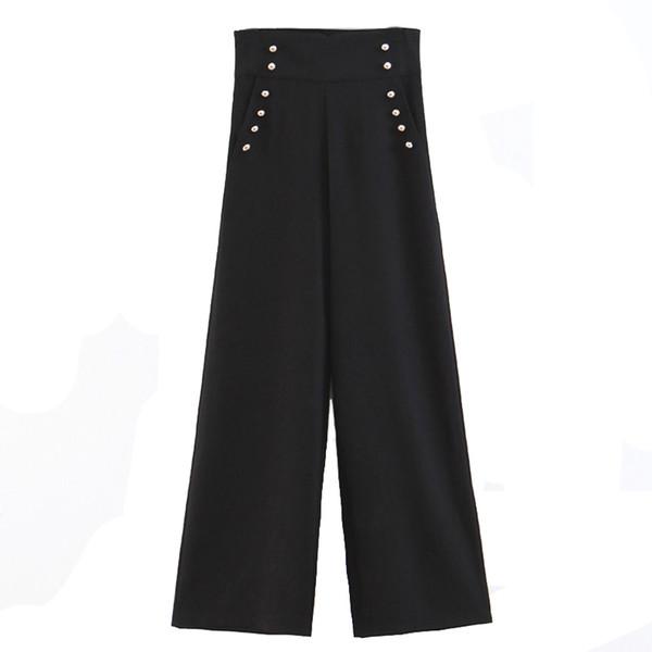 High Waist Wide Leg Pants Office Lady Black Leisure Pants Women Loose Trousers 2019 Fashion Clothes
