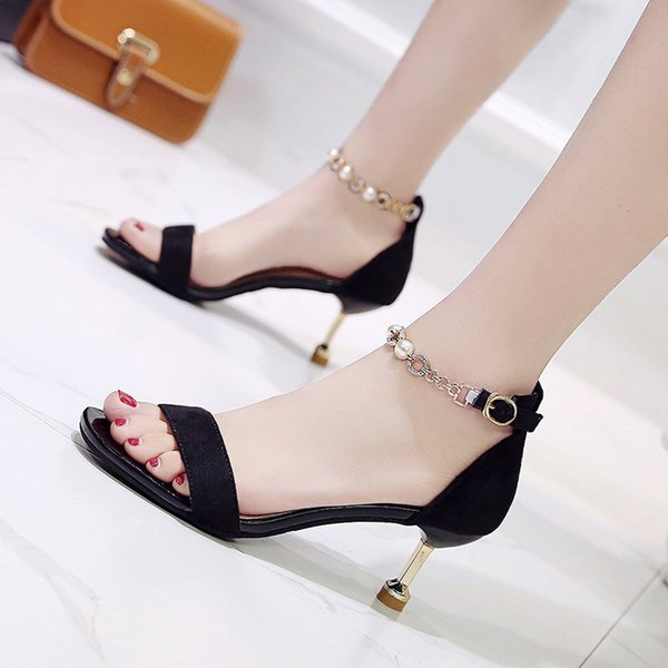 Sexy2019 Of String A Beads Rhinestone Fine Sandals Girls With Velvet Noodles All-match Toe One Word Women's Shoes