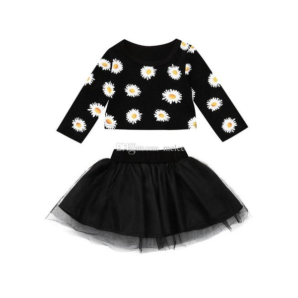 Sunflowers girls summer clothes Newborn Infant Baby Girl Sunflower T shirt Tops + Tutu Tulle Skirt Baby girls Clothes Set Dropshipping
