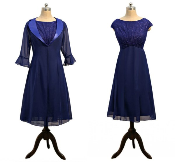 Sexy navy Mother of the Bride Groom Suit Dresses With Long Jacket Jewel Neck Lace Pleated Juliet Sleeves Chiffon Cheap Party Dress