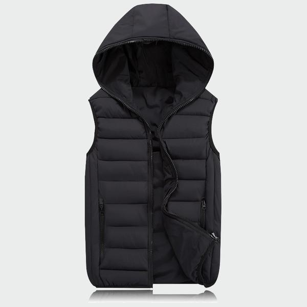 Mens Sleeveless Jacket Fashion Thicken Cotton Vest Hooded Autumn Warm Vest Winter Male Waistcoats Men Casual Windbreakers Ml063