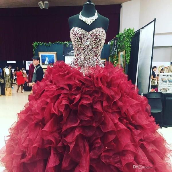 Cristal Frisado Querida Corpete Organza Ruffles Vestidos De Baile Vestidos Quinceanera 2019 Borgonha Vestidos De 15 Anos Doce 16 Vestidos De Baile