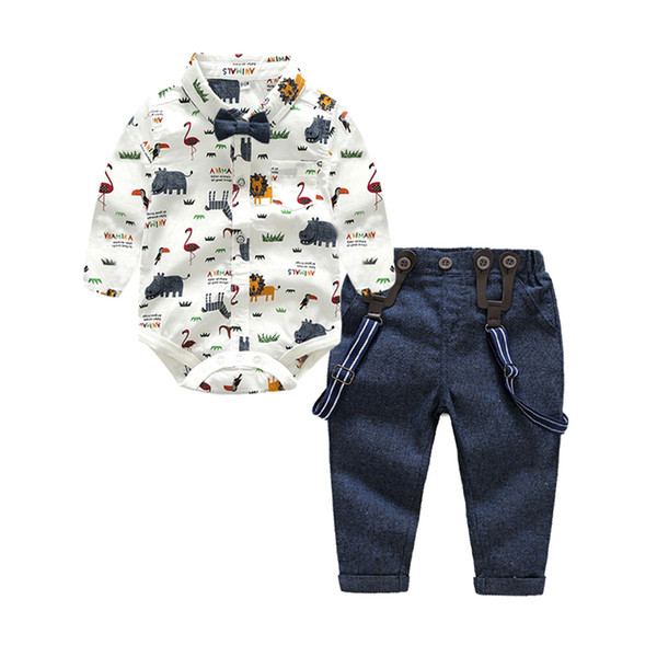 Tem Doger Baby Boys Gentleman Clothes Suits Bowtie Shirt Rompers + Overalls 2pcs Toddler Bodysuit Outfits Infant Party Jumpsuits J190710