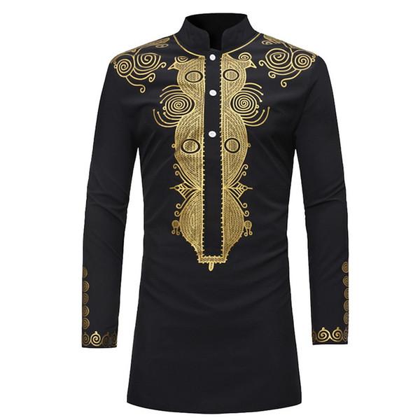Camicia africana per uomo adulto Camicia a maniche lunghe stampata dorata nera Bottone in piedi Colletto tribale tribale Top tunica per uomo Taglie forti