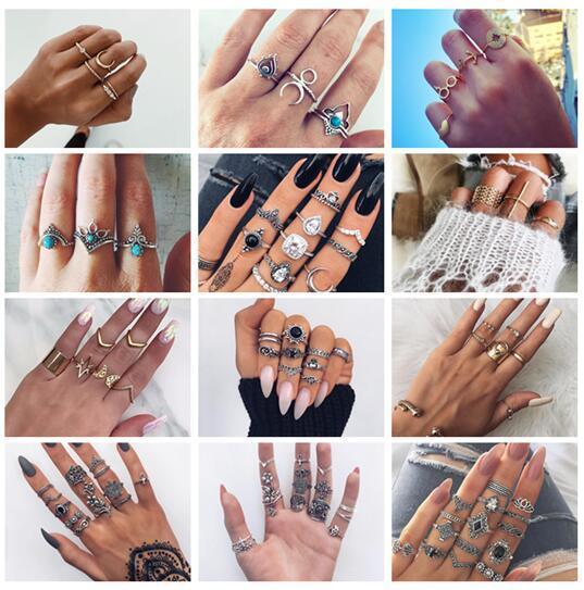20 stili Retro fiore Infinite Knuckle Rings per le donne Vintage motivo geometrico Anelli di cristallo Set gioielli della Boemia del partito