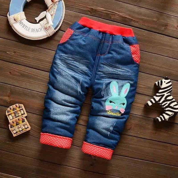 good quality infant baby boys jeans toddler fashion cartoon denim pants children plus velvet thickening cotton pants fit 0-2Y baby