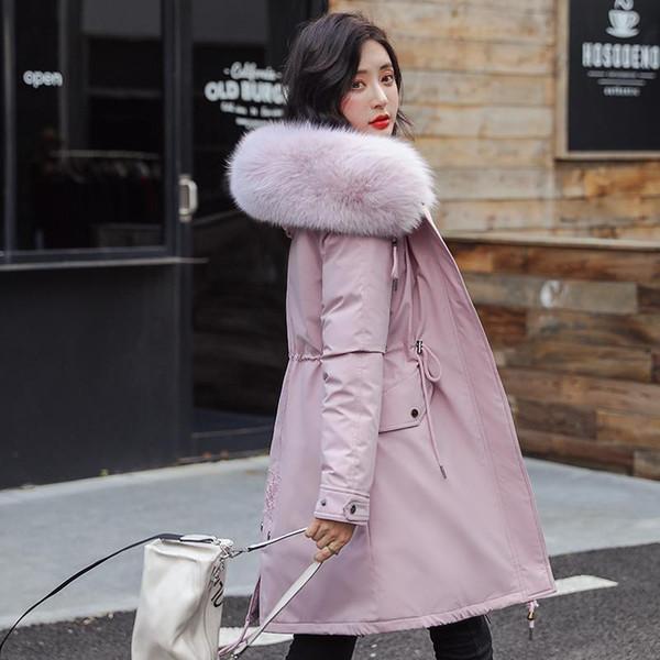 De nouvelles femmes manteaux d'hiver Manteau long Automne Hiver chaud velours Thicken fausse fourrure Manteaux Parka Femme solide Big Pocket Jacket Outwear