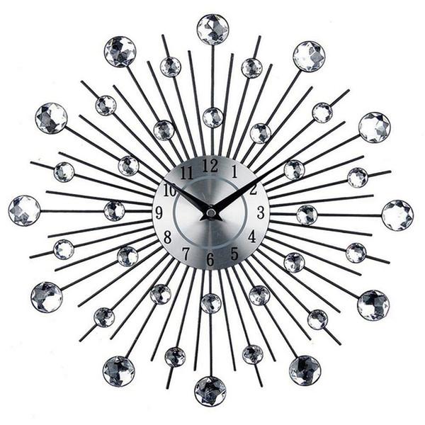 Vintage Métal Art Cristal Sunburst Horloge Murale Diamant De Luxe Grand Horloge Murale Morden Design Home Decor