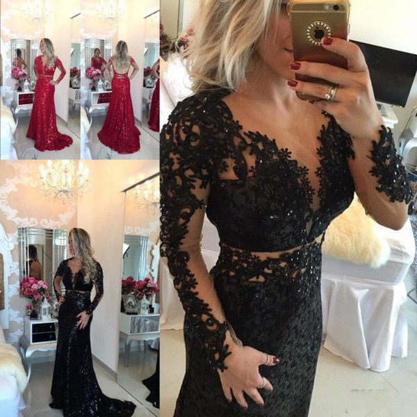 New Stunning Red Prom Dresses Long Sleeves Lace Sexy V Neck Beaded Floor Length Backless Evening Gowns Arabic Dresses