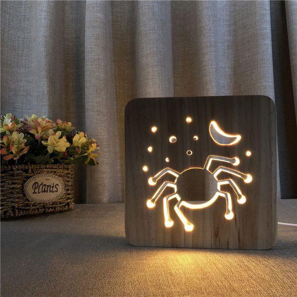 Yeni 3D LED Ahşap Gece Lambası Tatil aydınlatma Sıcak Beyaz Cadılar Bayramı Örümcek Yaratıcı Işık çocuk odası dekorasyon lamba