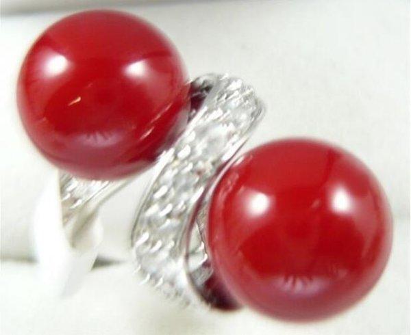 Jewelryr Jade Ring charm 10mm red shell pearl ring(#6-9) Free Shipping