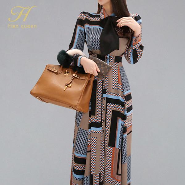 H Han Queen Vintage Print Elegant Long Dress Women 2019 Spring Single-breasted Shirt Dresses Waist Swing Ankle-length Vestidos Y190426