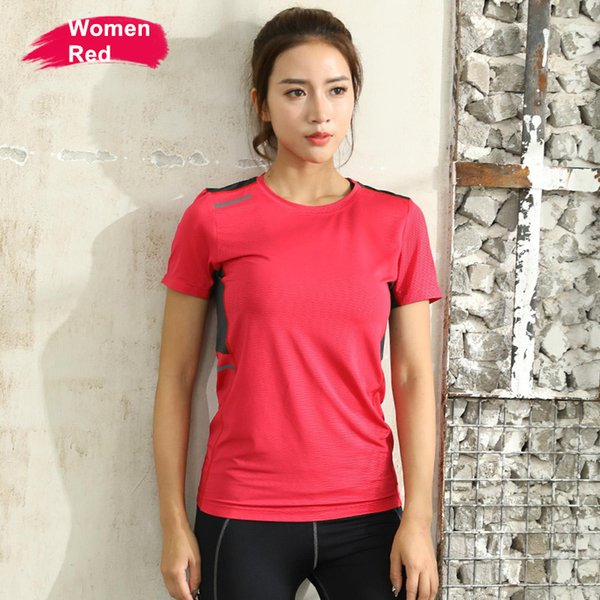 Summer Quick Dry Running T-shirt Men Women Tops Sport Shirt Short Sleeve Elastic Training Reflective Safe Hiking Gym Clothing