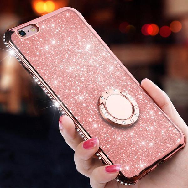 Para iPhone XS Max XR X 7 Plus 8 Plus 7/8 Bling de lujo TPU Anillo Titular Soporte Funda Cubierta protectora