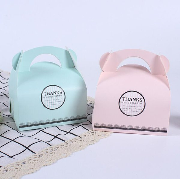 Portable Handle Bakery Cake Boxes Mousse Cookies Pastry Packaging Boxes Pinkk Blue Free Shipping Wholesale LX5694