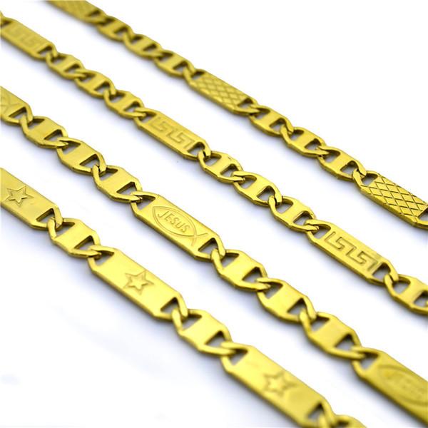 Modeschmuck Männer Halskette klassische Print 18k Gold Edelstahl-Anhänger Halskette Designer Halskette Rock Punk Mann Ketten Geschenk überzogen