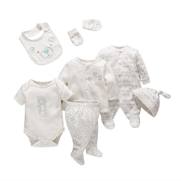 7 Pcs/set Tender Babies Newborn Baby Girl Boy Clothes Soft Cartoon Cotton Baby Children Clothing Set Comfortable Infant Clothes J190705