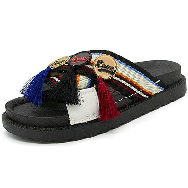 New Women Flats Summer Outdoor Platform Slippers 3.5 cm Heels Sandals Woman Flip Flops and Mix Colours Walking Shoes Women