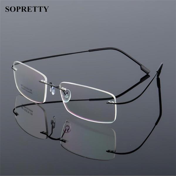 5bb9eb26adc Classic Mens Titanium Alloy Rimless Glasses Frames