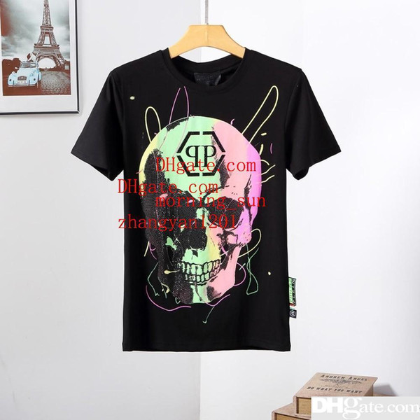 2019 mode hommes marque T-shirts multicolore crâne imprimer la rue des manches courtes all-match T-shirt de haute qualité été hommes vêtements ABC-3