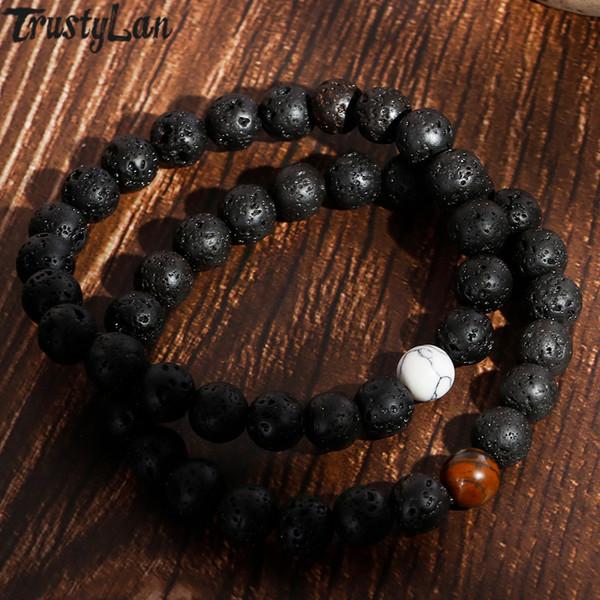 Vulkanstein Perlen Armbänder Für Frauen Herren Armbänder Armreifen 8 MM Breiten Streifen Ethnischen Rosenkranz Energie Perlen Gebet Armband