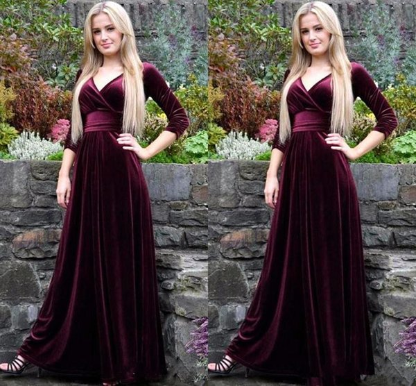 elegant v-neck a-line burgundy velour simple muslim evening dresses robe de charming pleat prom gowns 2019 party dreses 42