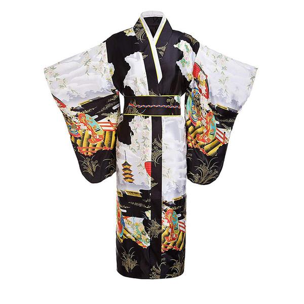 Черные Женщины Леди Японские Традиции Юката Кимоно Халат С Оби Цветок Старинные Вечернее Платье Косплей Костюм