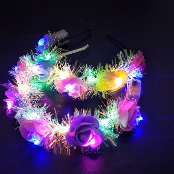 Chica caliente flores decorativas LED Light Floral Cintas para el pelo que brillan intensamente banda del pelo para el favor de la boda del partido Accesorios para el cabello favor de la fiesta T2C5052