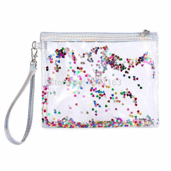 Makeup Bag Clear Cosmetic Bag PVC Transparent Purse Travel Quicksand Glitter Makeup