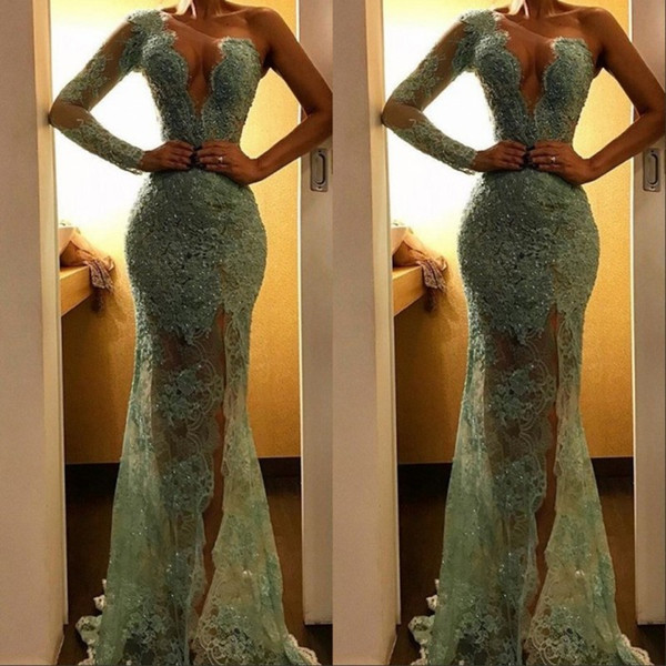 Sexy Illusion Mint Lace Mermaid Party Prom Dresses 2019 Sparkle Sequined Beaded Long High Side Split One Shoulder Evening Gowns