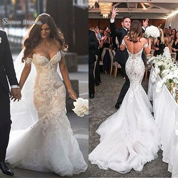 best selling 2020 Off The Shoulder Appliques Sexy Backless Mermaid Bride Dress Sleeveless Bridal Gown Saudi Arabia robes de mariée