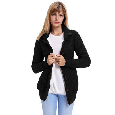 Women Solid Color Cardigan Fashion Ladies Button Zipper Pocket Knit Sweater Casual Hooded Long-sleeve Jacket Female
