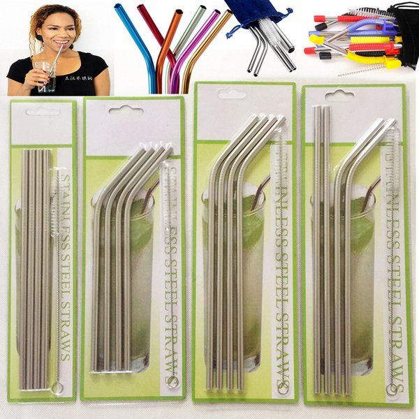 top popular 30oz 20oz 304 Stainless Steel Straws (4+1) Set Durable Reusable Metal Extra Drinking Straws Sets for 30oz 20oz Tumblers Cups Mugs 2021